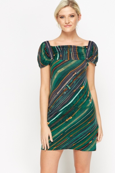 Image of Mixed Print Zip Shoulder Dress