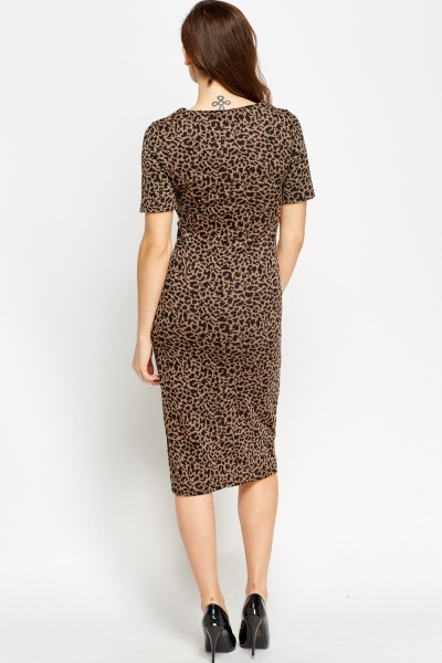 Leopard Print Slit Midi Dress
