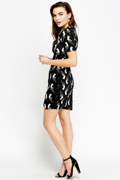Textured Print Wrapped Hem Midi Dress