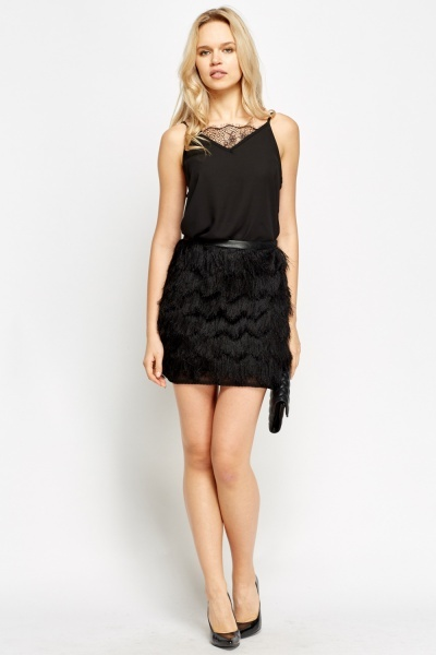 Black Eyelash Mini Skirt