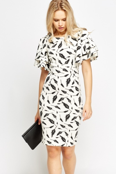 Flare Sleeve Feather Print Dress