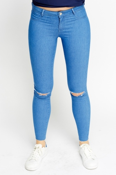 Ripped Ankle High Waisted Skinny Jeans