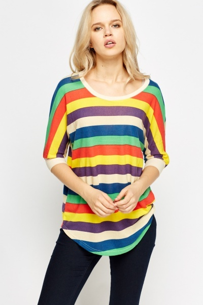 Striped Batwing Casual Top