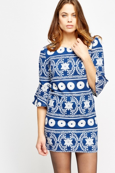 Image of Flared Sleeve Mixed Print Dress
