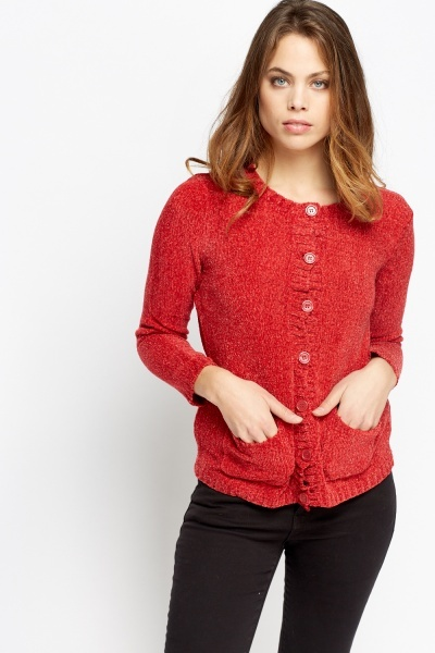 button front speckled knit cardigan