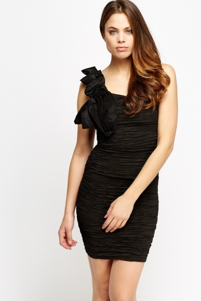 Ladies bodycon dress satin shoulder black one ruched parties