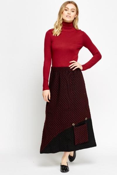 Bobble Knit Midi Front Pocket Skirt