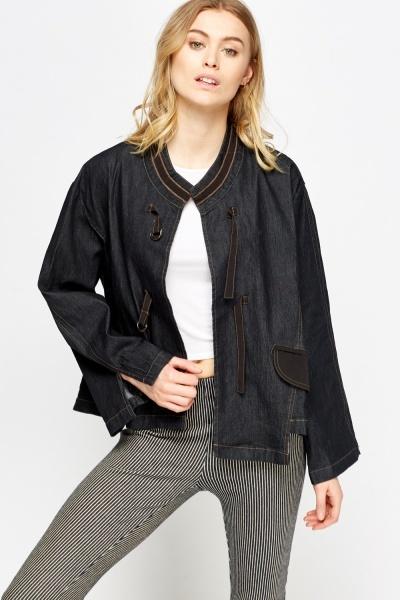 Image of Contrast Stitched Denim Jacket