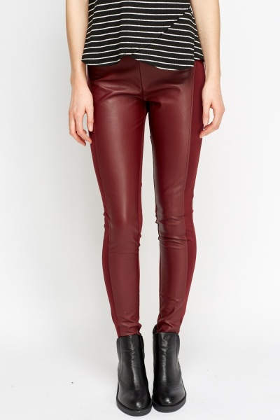 Faux Leather Contrast Wine Leggings