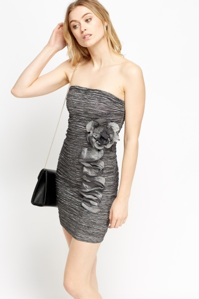 Ruched Bandeau Bodycon Dress
