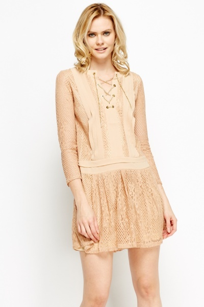 Lace Overlay Mini Chained Skater Dress