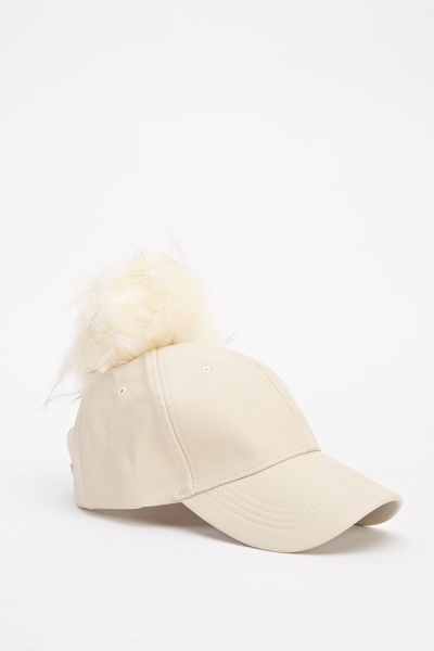Image of Faux Fur Pom Cap