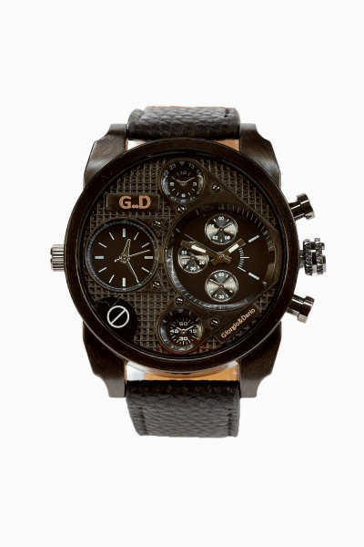 Mens Faux Leather Strap Chronograph Watch