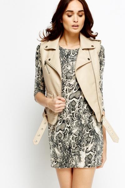 Image of Cream Mixed Print Bodycon Dress