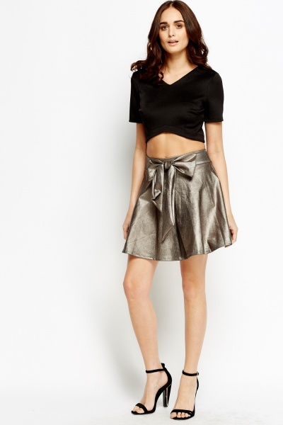 Metallic Bow Skater Skirt