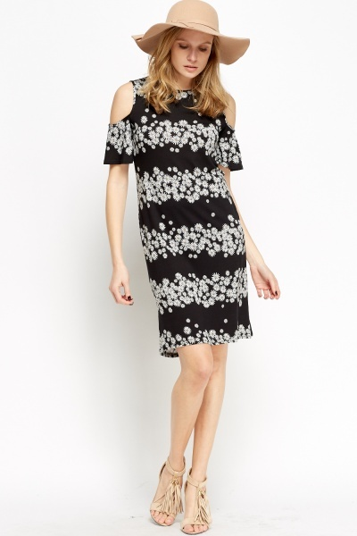Image of Daisy Print Cold Shoulder Dress