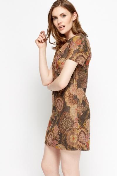 Detailed Neck Mix Print Dress