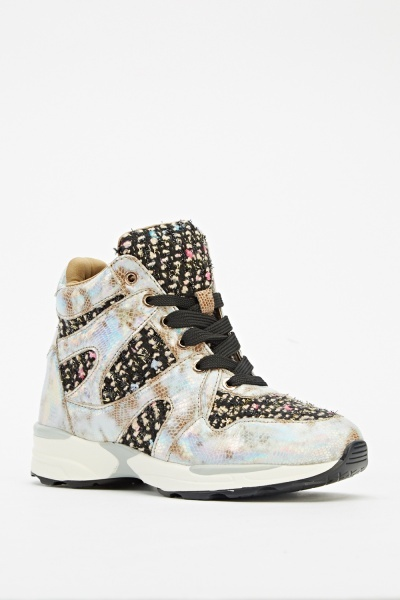 Embroidery Contrast High Top Trainers
