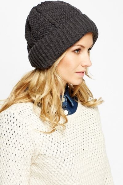 Image of Knitted Ribbed Beanie Hat