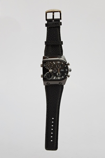 Mens Textured Chronograph Watch