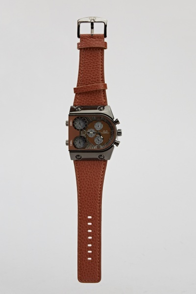 Mens Textured Chronograph Watch