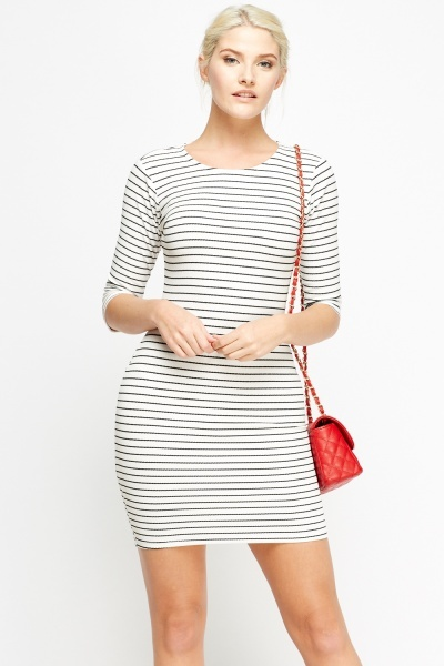 3/4 Sleeve Stripe Bodycon Dress