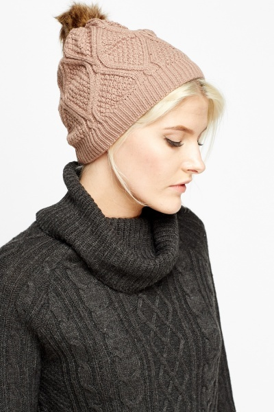 Image of Knitted Faux Fur Pom Beanie Hat