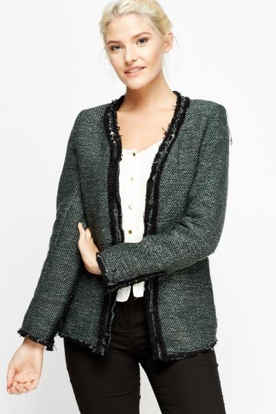 Studded Frayed Trim Speckled Jacket