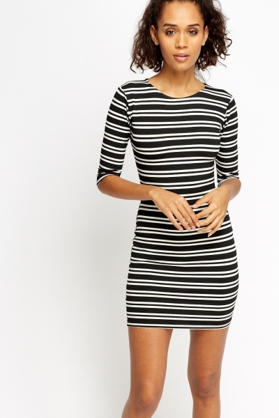 Image of Black Striped Bodycon Dress