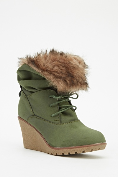 Faux Fur Lace Up Wedge Boots
