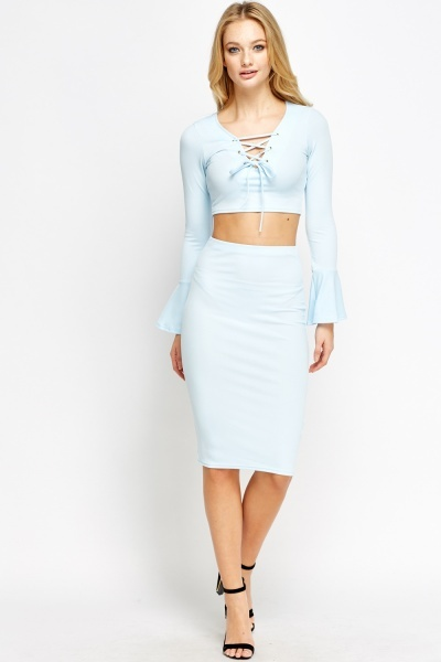 2 tie up crop top and midi skirt just 163 5