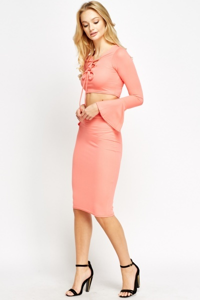 2 Piece Tie Up Crop Top And Midi Skirt