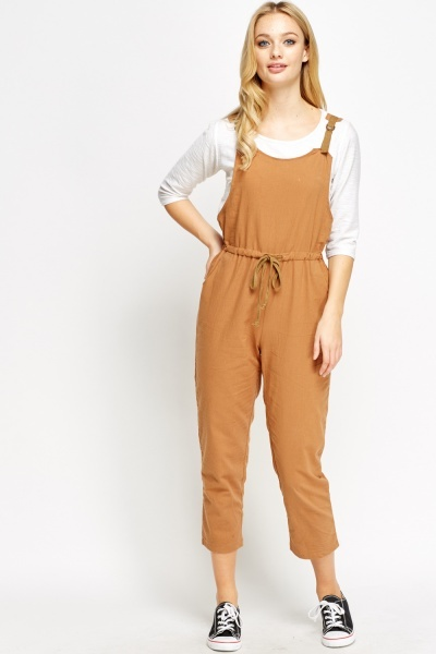 Casual Cropped Dungaree Jumpsuit