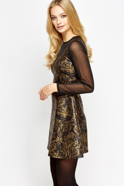 Metallic Printed Mesh Insert Skater Dress