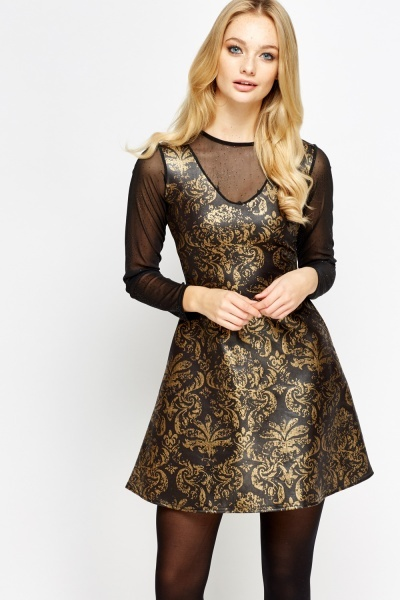 Image of Metallic Printed Mesh Insert Skater Dress