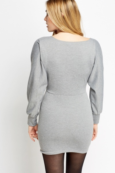 Grey Mini Batwing Sleeve Dress