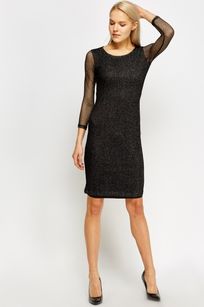 Black Metallic Insert Mesh Bodycon Dress