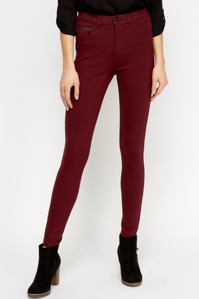 Burgundy Treggings