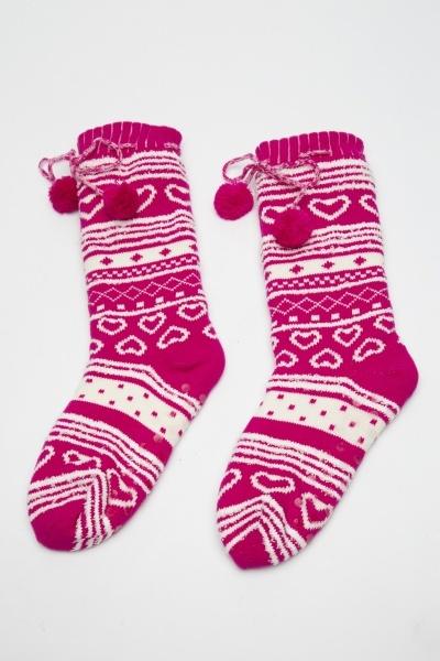 Image of Christmas Knitted Slipper Socks
