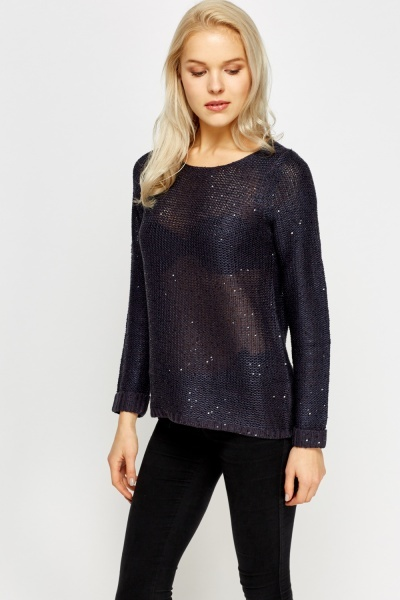 Navy Knitted Sequin Jumper