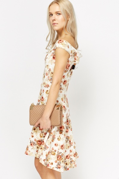 Off Shoulder Flower Swing Dress