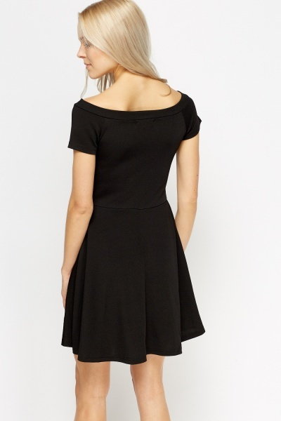 Textured Swing Black Dress