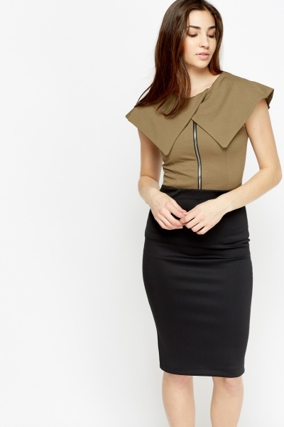 Lapel Front Zipped Front Top