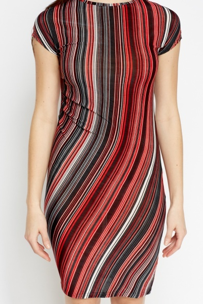 Twist Side Multi Stripe Dress