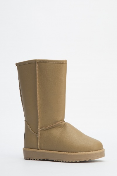 Faux leather Camel Ankle Boots