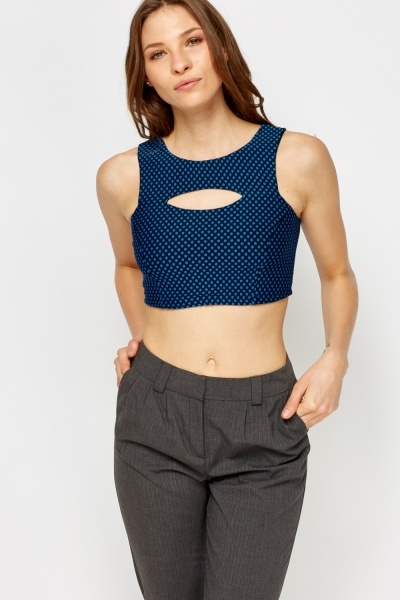Cut Out Front Polka Dot Crop Top