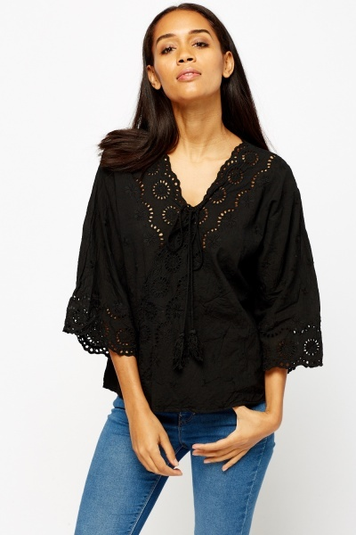 Embroidered Black Top