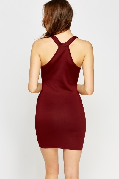 High Neck Maroon Bodycon Dress