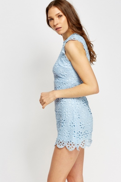 Mesh Overlay Sky Blue Mini Dress
