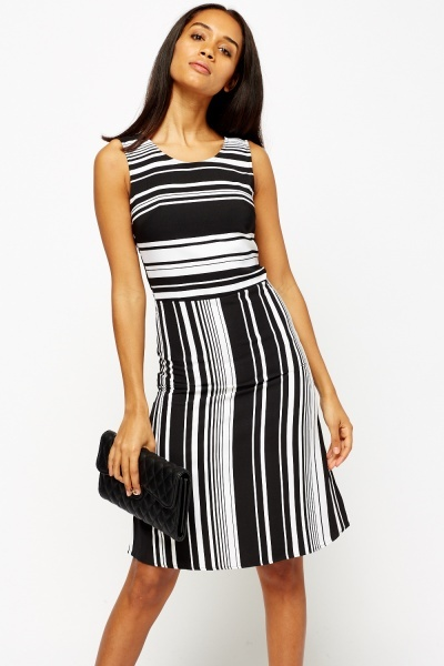 Multi Striped Printed Dress